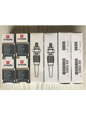 Citroen gloeibougies BERU (6X) NIEUW EN ORIGINEEL 5960.69