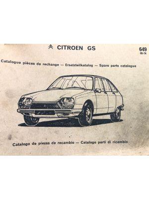 Citroen GS onderdelenboek No 649 5-1974