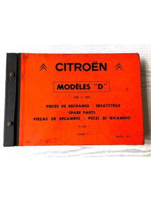 Citroen DS onderdelenboek 1966-1969  No 598 Maart 1971